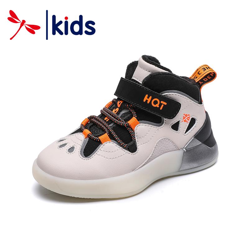 红蜻蜓童鞋2019冬季新款男童休闲运动鞋加绒保暖棉鞋厚底儿童潮鞋