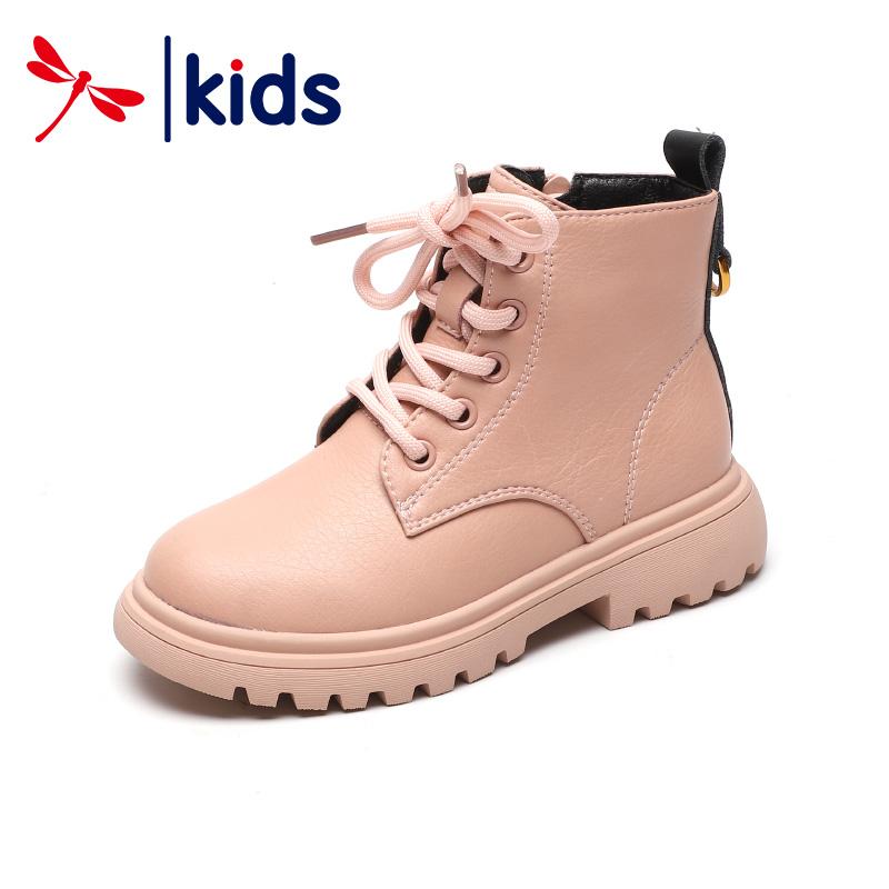 红蜻蜓童鞋2019冬季新款女童靴子真皮加绒短靴儿童马丁靴保暖棉靴