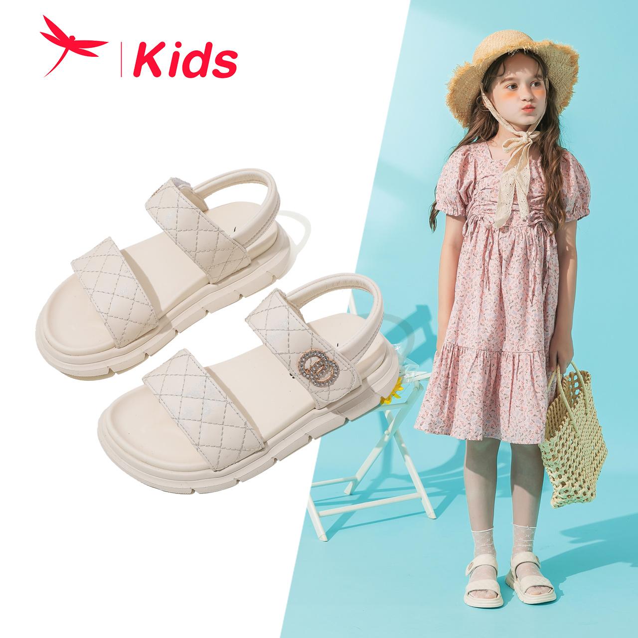 红蜻蜓童鞋2021夏季新款女童凉鞋小香风大童时尚女孩软底公主鞋子