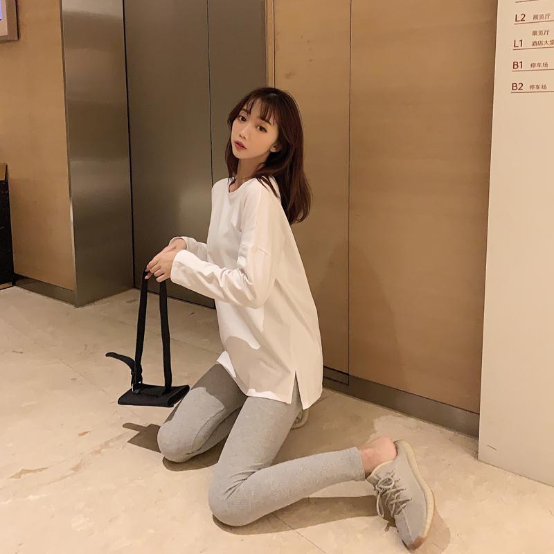 纯棉白色长袖t恤女ins韩版春秋宽松纯色棉质内搭打底衫薄款上衣潮