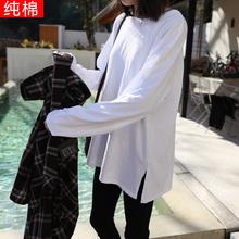 纯色圆领长袖 女 t恤女百搭纯棉白色宽松体恤打底衫 新款 春秋季 韩版
