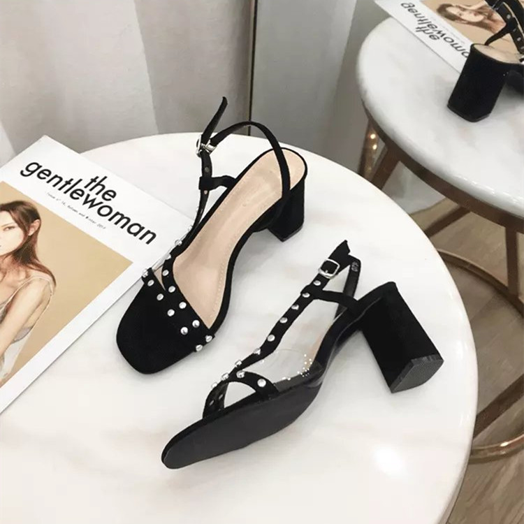 Summer new frosted suede square open toe metal decorative one line buckle THICK HEEL SANDALS