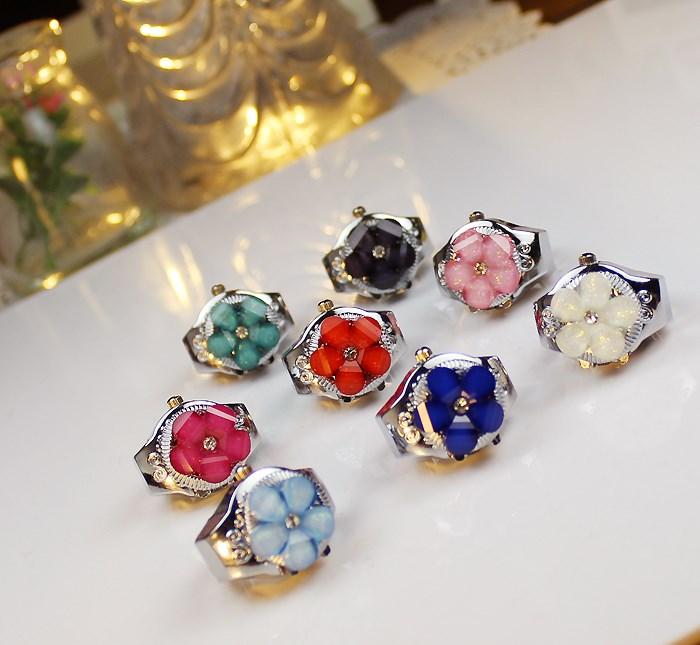 戒指表 翻盖女装手表可爱5小花点钻小巧真表可以看时间手指表