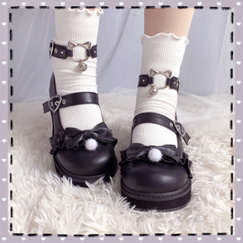 【全款预约】喵可可原创Lolita单鞋复古软妹大圆头厚底女鞋lo鞋