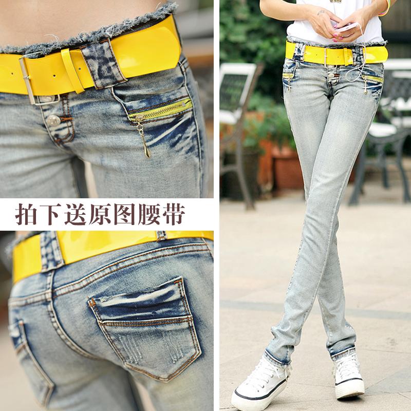 低腰牛仔长裤女春秋2021新款韩版浅色弹力紧身性感显瘦小脚铅笔裤
