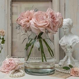 北欧INS简约欧美式田园透明玻璃水培养干鲜花束插大口径花瓶家居