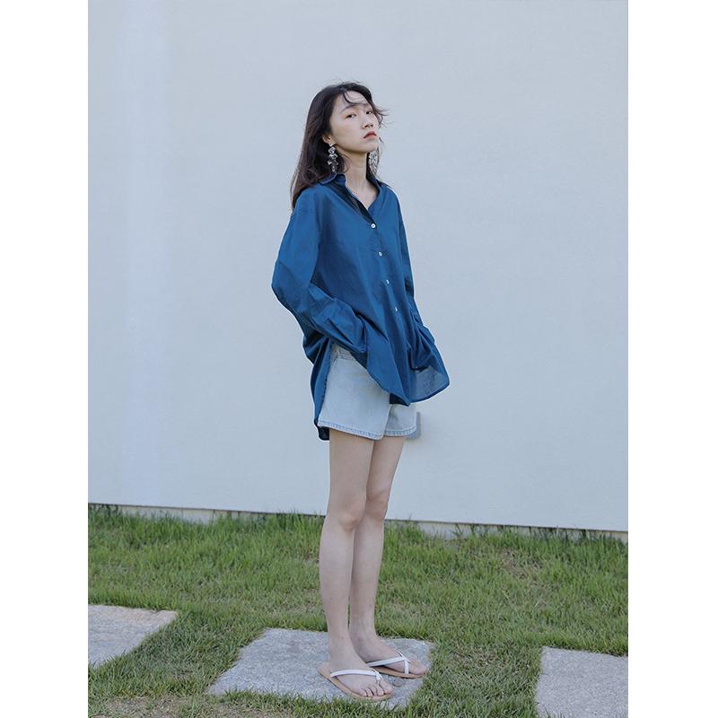 5siss 防晒衬衫女长袖薄款纯色复古港味锁骨上衣显瘦心机宽松衬衣129.00元包邮