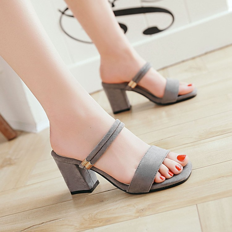 Summer sandals womens shoes Roman open toe shoes high heel 7cm straight with black red suede, versatile Korean shoes