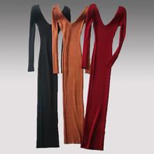 针织高弹性包臀裙 露背深双V领性感中长款 欧美风长袖 t恤连衣裙修身