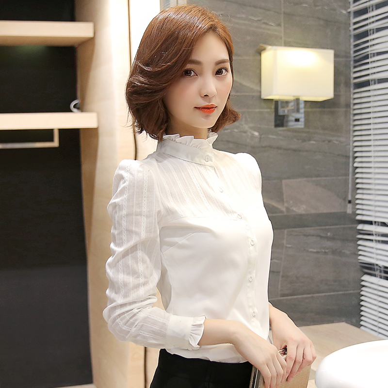 Shirt women autumn long sleeve warm Plush professional lace bottoming shirt Han Fan small stand collar pure cotton white shirt top