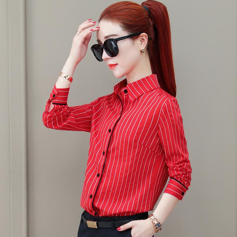 2020春装新款长袖条纹衬衫女韩版洋气上衣修身显瘦职业打底衬衣寸