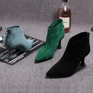 2021春季新款欧洲站黑色靴子女小跟短靴尖头细跟磨砂皮高跟鞋