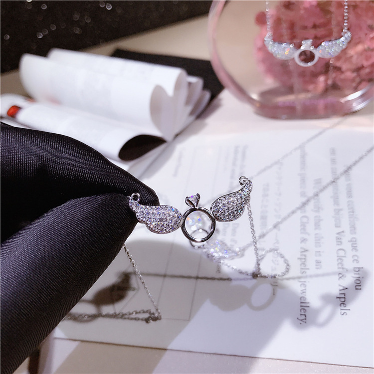 Angels Wing & eternal ring full diamond necklace from Japan and Korea