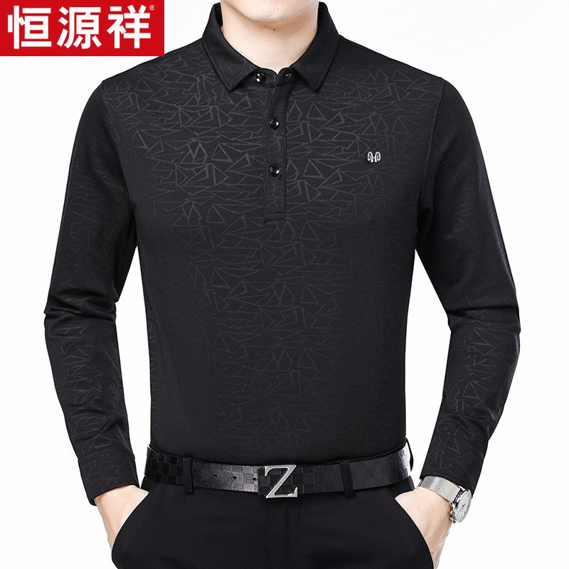 Hengyuanxiang long sleeve T-shirt middle-aged dad spring and autumn bottomed shirt Lapel loose mens Pullover fathers Day