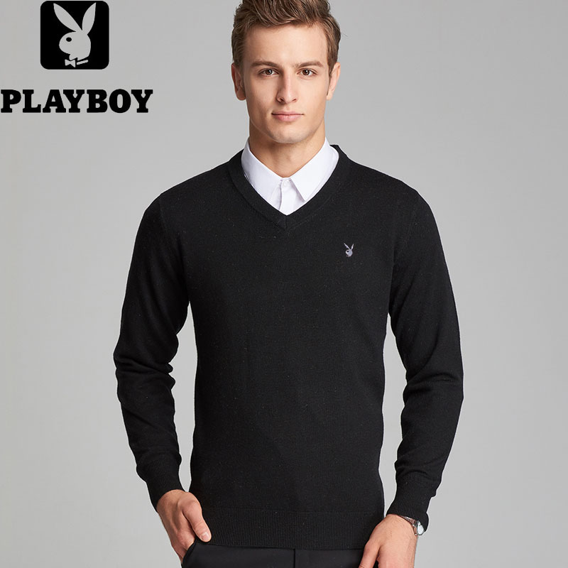 Playboy authentic autumn and winter mens T-shirt long sleeve sweater sweater young mens solid color bottom coat