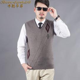 秋冬男式装针织衫羊毛羊绒背心毛衣马甲坎肩中青年上衣服柔软保暖