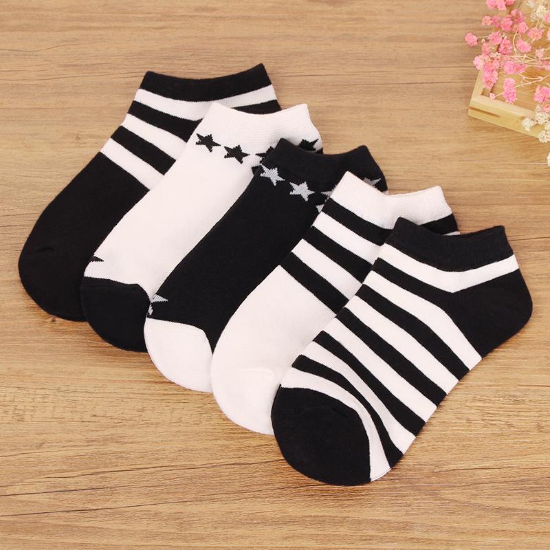 女袜子纯棉秋季短袜浅口低帮黑色运动女袜全棉韩版夏薄款船袜透气