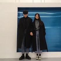 韩国冬季ins长款大码情侣装毛呢外套女学生妮子chic黑色呢子大衣