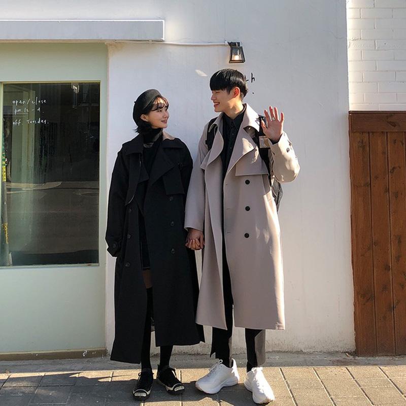 discover韩国东大门秋学生情侣装长款风衣女外套黑色休闲大衣韩版