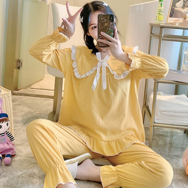 Pure cotton pajamas women autumn long sleeve Princess wind home wear spring and autumn baby collar students sweet leisure fresh suit