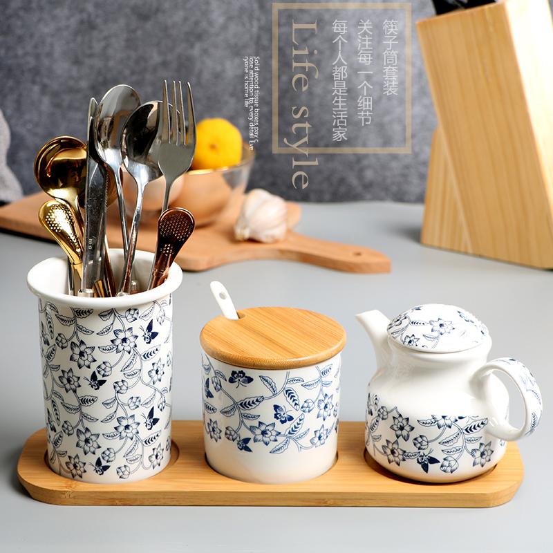 Керамические палочки для еды трубчатые сливы быстрая двойная палочки для еды уксус горшок палочки для еды коробка приправы ящик стойка палочки для еды клетка