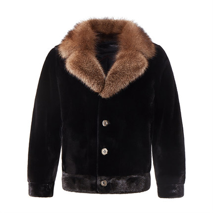 2021 new mink coat mink mens wear imported from the United States Baojia Meiyu Mink Collar length whole mink jacket