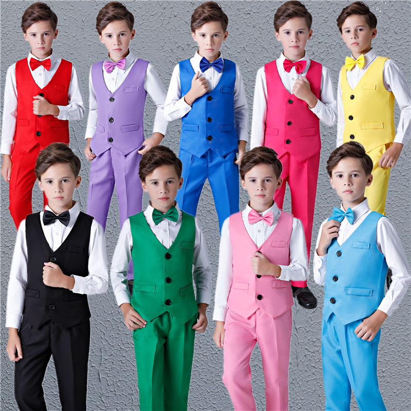 Boys Dress Vest suit boy Host Childrens performance primary and secondary school students chorus performance recitation Costume