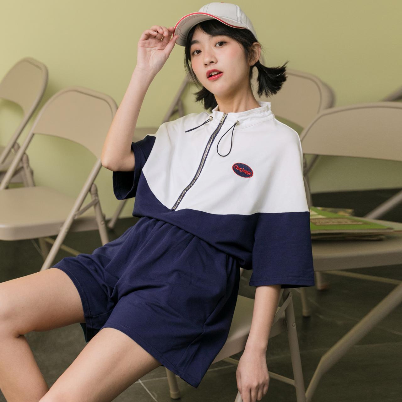 韩范休闲运动套装春秋2020年春季女运动风ins韩版学生两件套夏潮