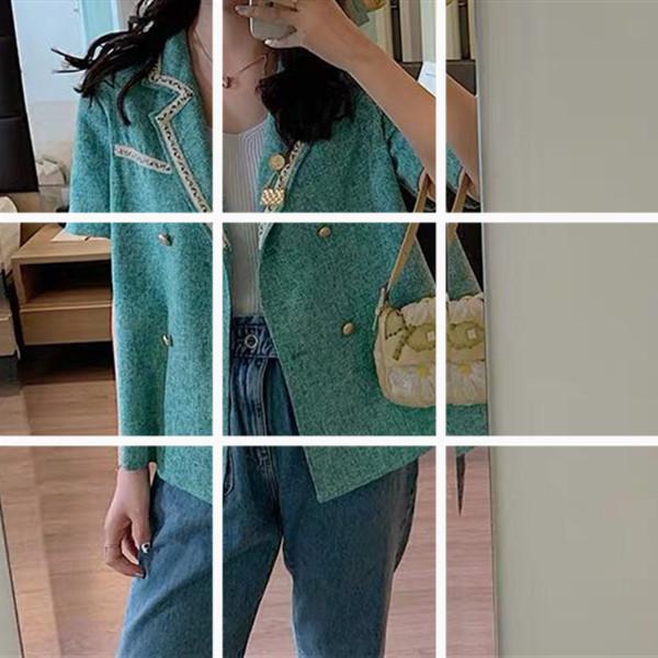 小香風短袖外套次惑小仙女綠色西裝小外套夏天短款百搭短袖上衣