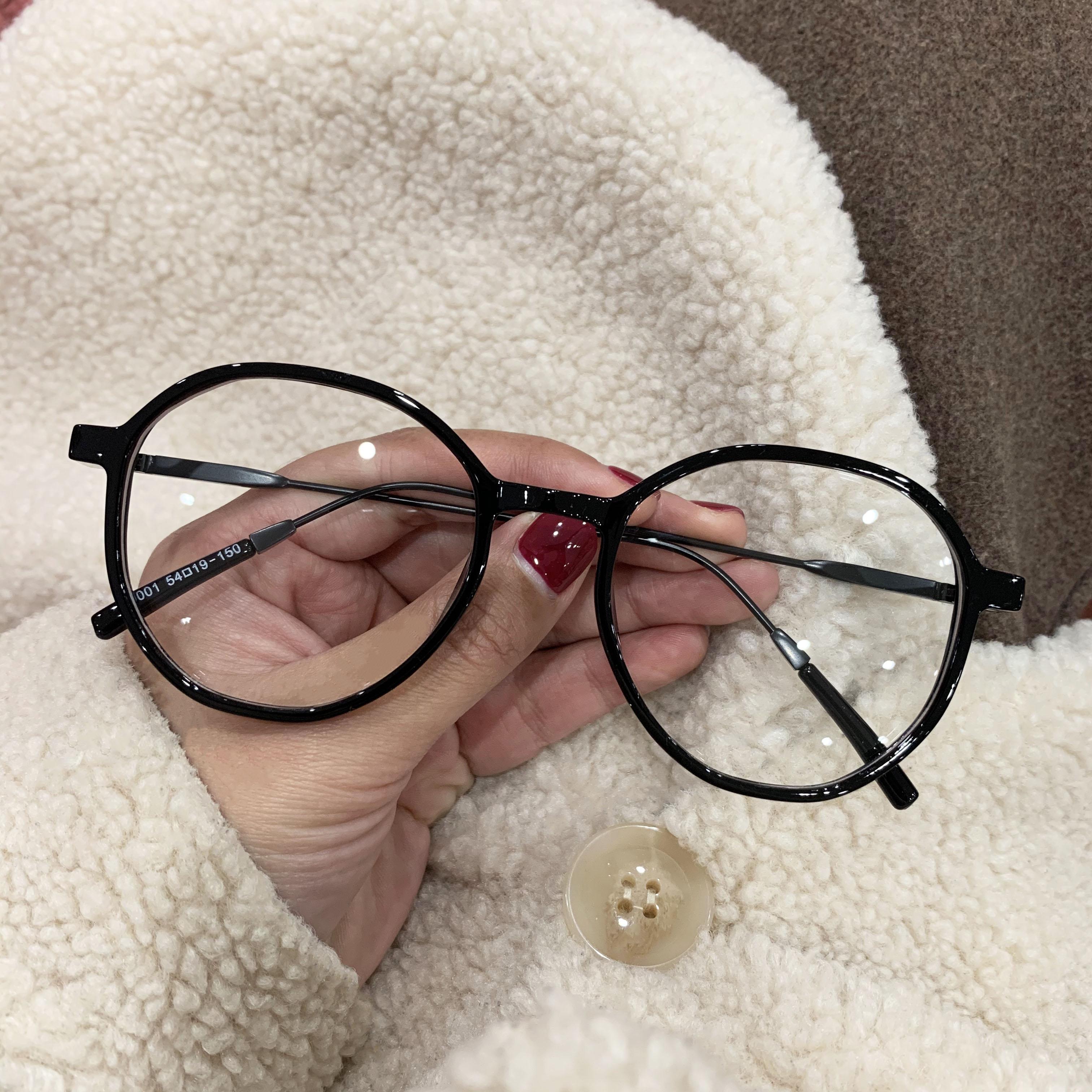 复古圆形黑框素颜神器眼镜框女韩版潮网红原宿平光镜奶茶色镜框女