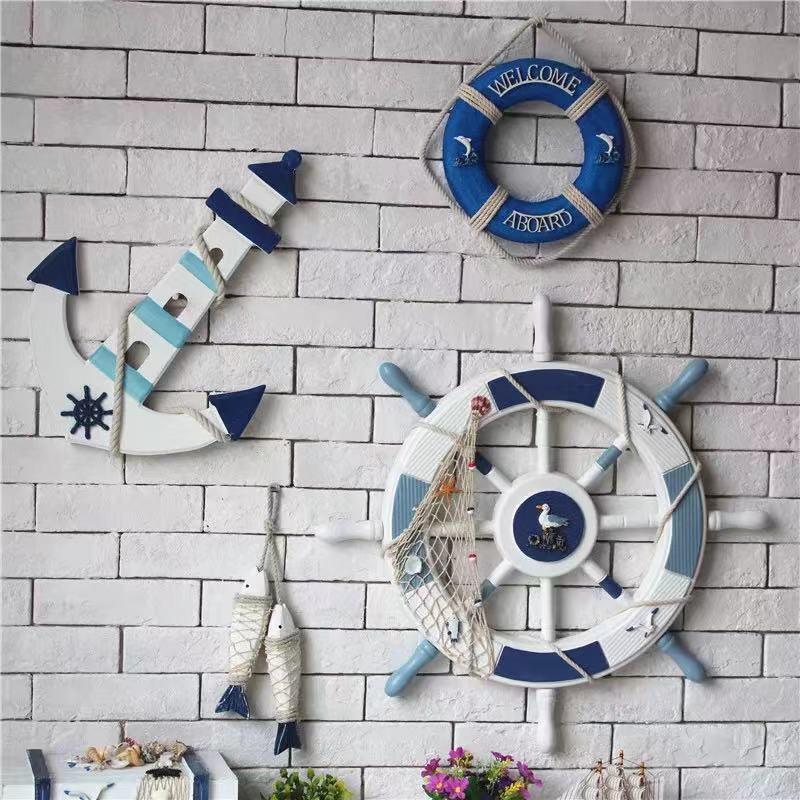 地中海船舵锚救生圈组合套装餐厅墙面装饰鱼串组合海洋风家居饰品