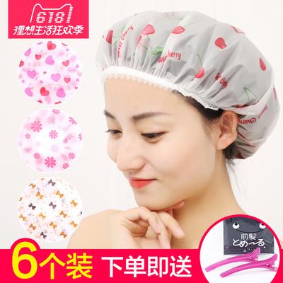 天天特价6个装防水浴帽沐浴帽女款洗澡头套厨房防油烟味帽子包邮5