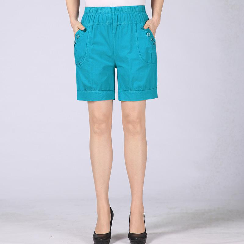 中老年女装夏装短裤40-50岁中年五分裤外穿透气妈妈装全棉休闲裤