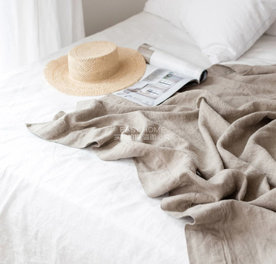 Raw materials imported from France, pure linen blanket, leisure blanket, double-layer linen cloth without interlayer, washed linen