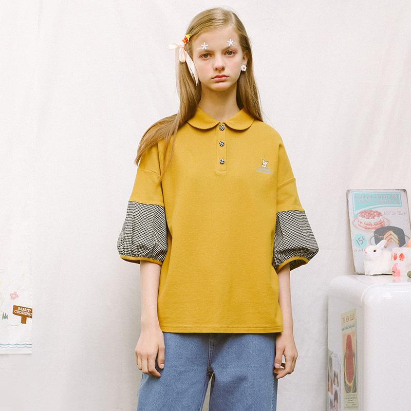 TYAKASHA塔卡沙兔子系列女款黄色拼黑白格POLO衫JTZF14