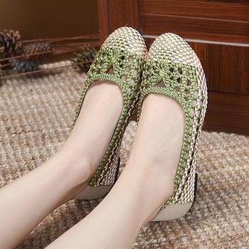 老北京布鞋女网鞋夏中老年平底透气休闲鞋轻便舒适妈妈鞋编织女鞋