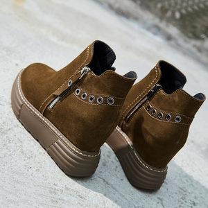 磨砂真皮女靴加绒棉鞋女冬厚底松糕内增高女鞋马丁靴女小个子短靴