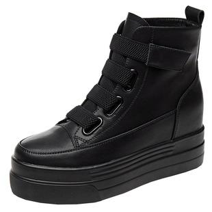 內增高短靴女8cm春秋單靴鬆糕厚底馬丁靴女ins潮英倫風薄款冬女鞋