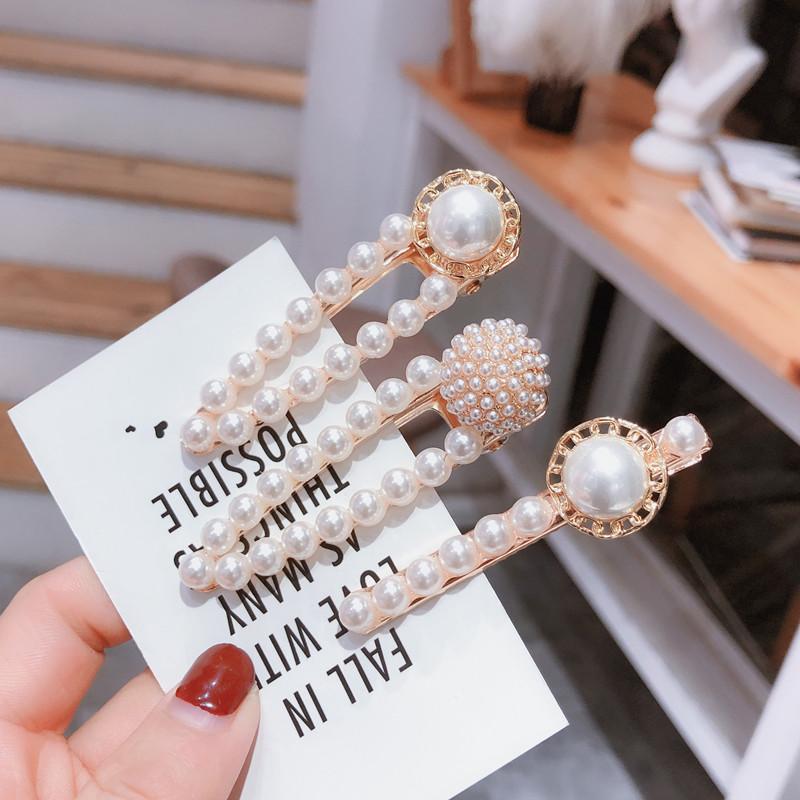 新款纯色珍珠球球碎发夹 复古风花朵珍珠带钻球球鸭嘴夹边夹