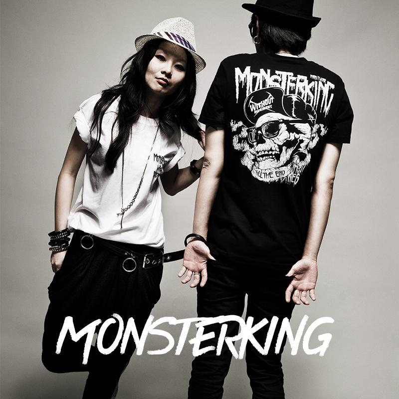 MK original co branded T-shirt European and American street punk rock skull heavyweight cotton T-shirt for men and women