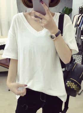 6102#实拍(剩下杏色L)V领大码纯色学生蝙蝠衫女短袖T恤 磨毛牛