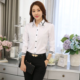 白色衬衫 女款长袖衬衫时尚百搭打底衫工服职业大码女装 打底衫OL图片