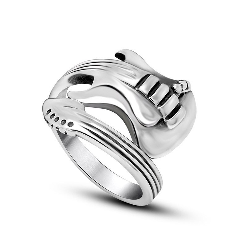 Japanese and Korean lovers jewelry fashion personality opening titanium steel ring rock music guitar ring sa711