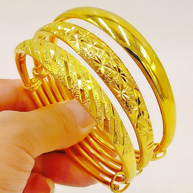 越南沙金手镯女士久不掉色24k金镀金首饰正品纯金色仿真黄金镯子