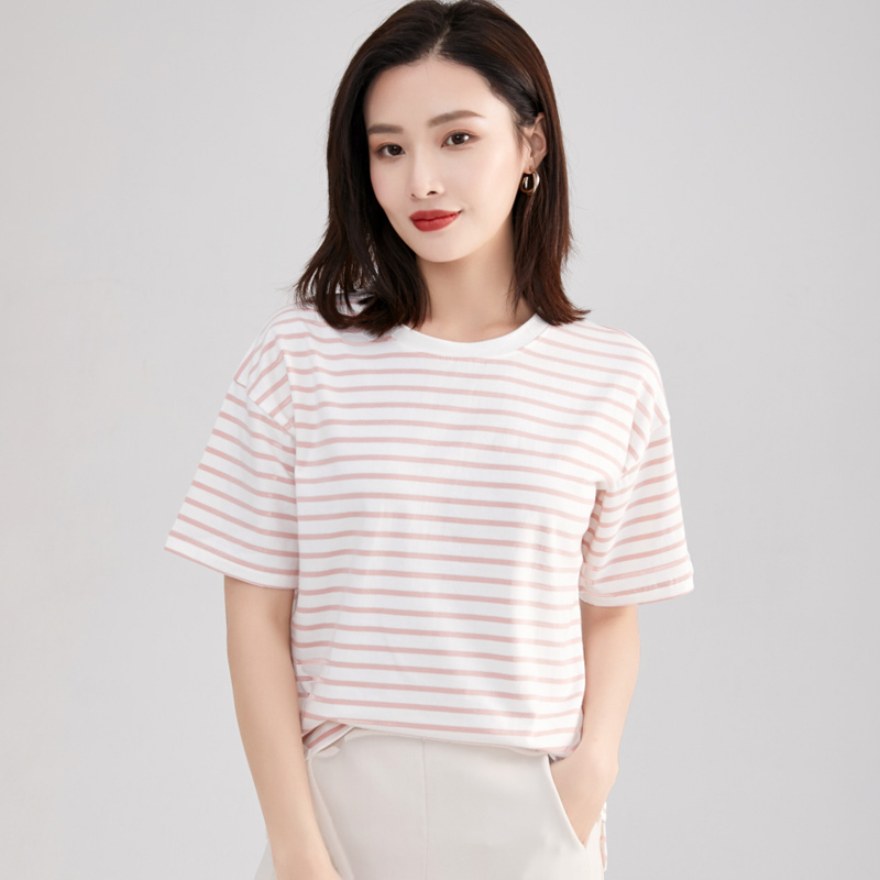 Summer cotton T-shirt womens fresh small shirt with loose half sleeve casual top college stripe short sleeve Sweatshirt
