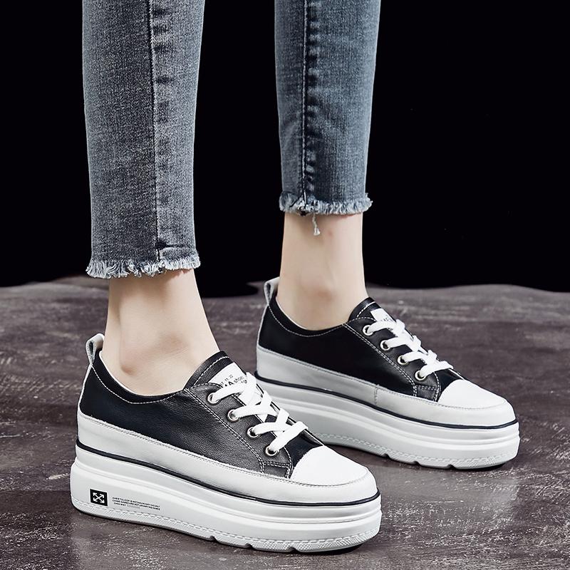 厚底内增高小白鞋女2020新款春夏季薄款女鞋爆款百搭学生真皮透气