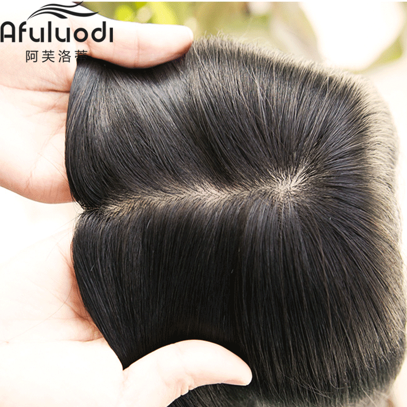 Real hair wig, straight hair, female head patch, invisible non trace patch, long hair, real hair patch
