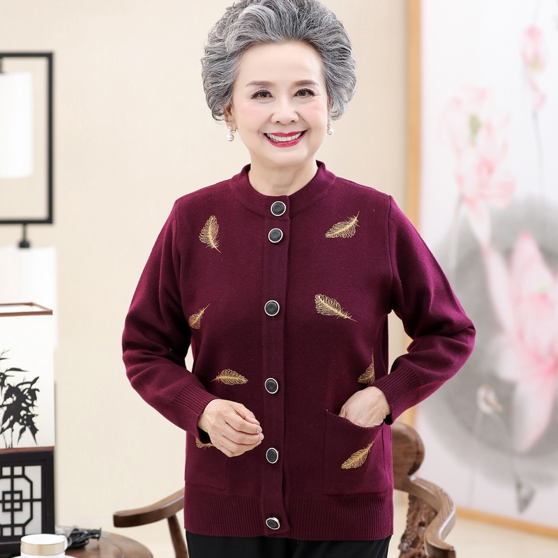 Autumn and winter clothes for the elderly female 6070 year old sweater cardigan Plush mother cardigan grandmother sweater