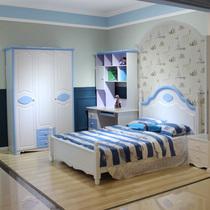 地中海风格卧室家具组合套装房儿童床衣柜书桌蓝色高箱男孩组装