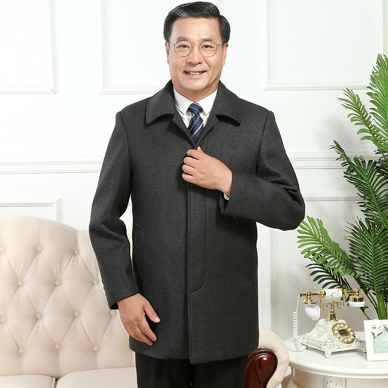 Middle aged and old mens coat autumn winter jacket medium long woolen coat fathers thickened middle aged woolen coat